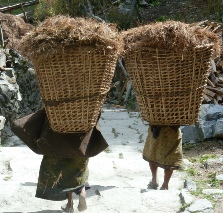 Women carrying baskets