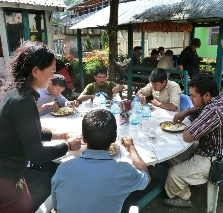 Guides and porters take a meal break